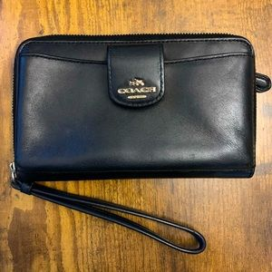Gently loved Black Leather Coach PhoneCase/Wallet